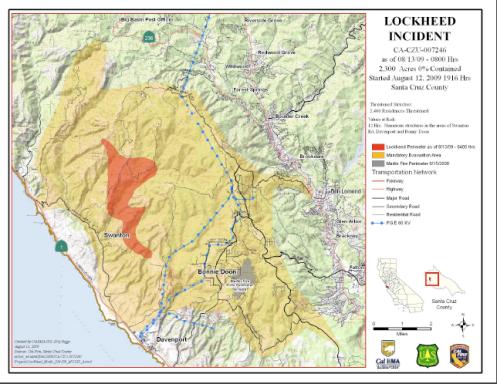 Lockheed Santa Cruz Fire & La Brea Fire Updates 8/13/08 | BigSurKate