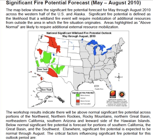 Western Us Fire Prediction Map 2010 Bigsurkate
