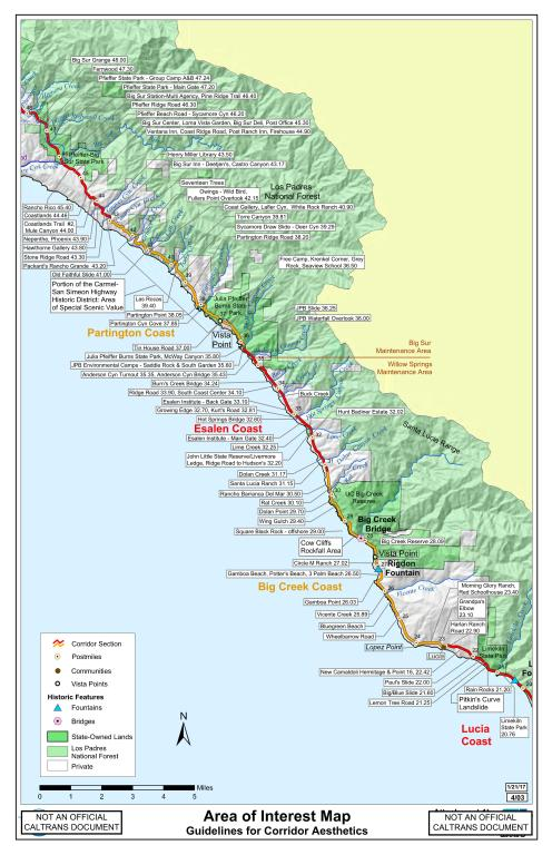 Big Sur Interactive Highway Maps with Slide Names & Mile Markers ...