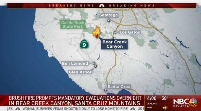 Santa Cruz Mountain Fire Map.Fire On Bear Creek Santa Cruz 10 17 17 Bigsurkate